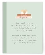 This is a orange baby shower insert card by Itsy Belle Studio called Baby Girl Shelves with standard printing on signature in standard.