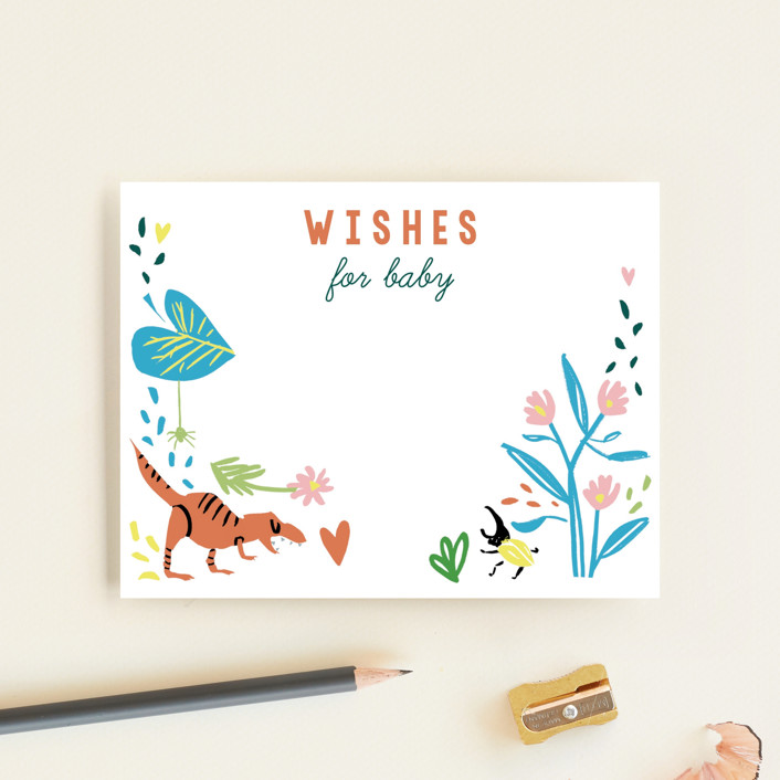 """""""Oh Boy!"""" - Whimsical & Funny Baby Shower Insert Cards in Emerald by Michelle Shanaman."""