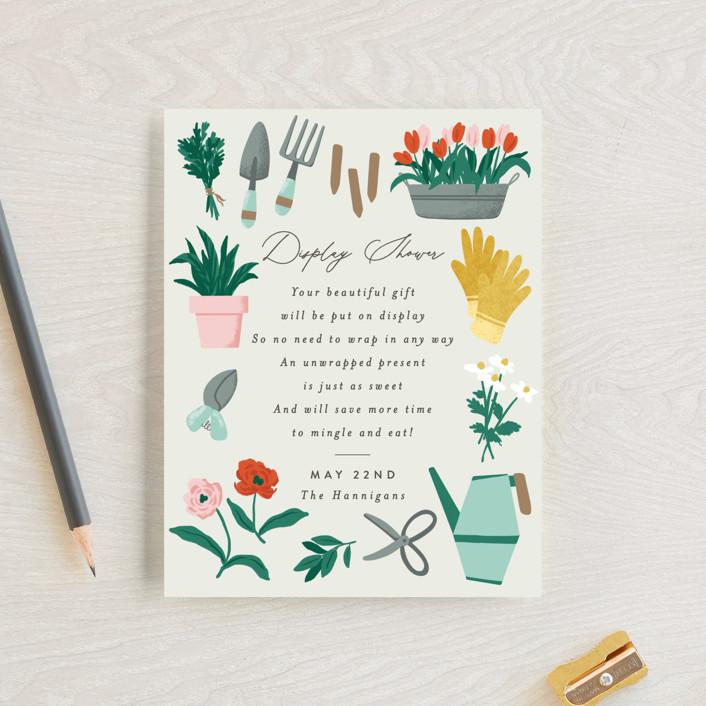 """Growing Garden"" - Baby Shower Insert Cards in Mint by Everett Paper Goods."