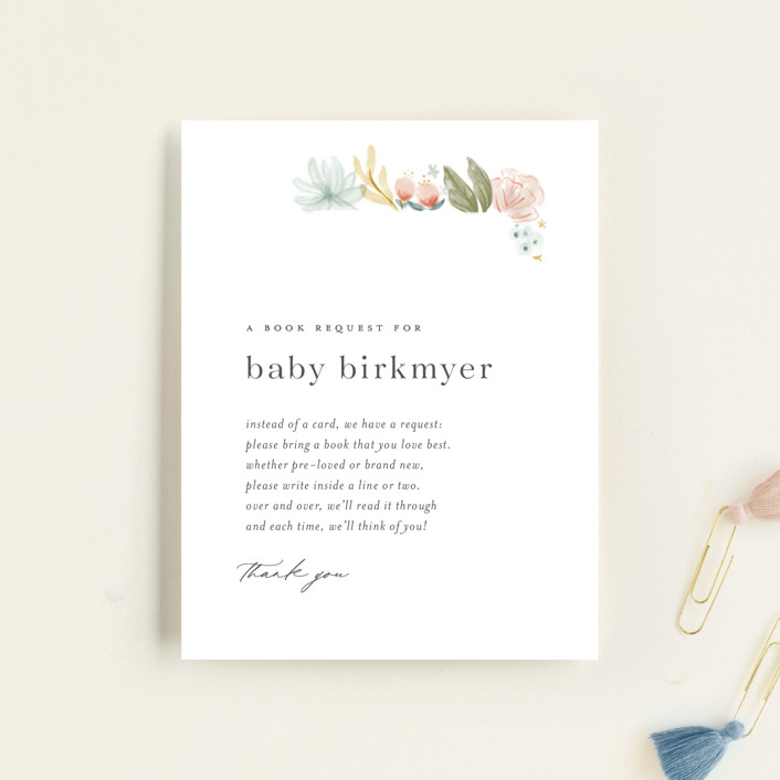 """""""Blooming Brunch"""" - Baby Shower Insert Cards in Rose by Ashley DeMeyere."""