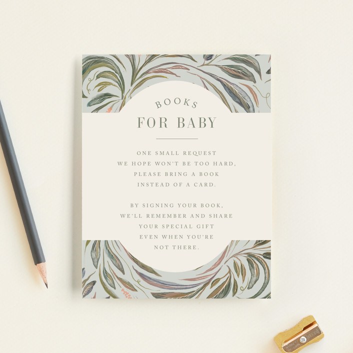 """""""Botanical Frame"""" - Baby Shower Insert Cards in Sage by Lucrecia."""
