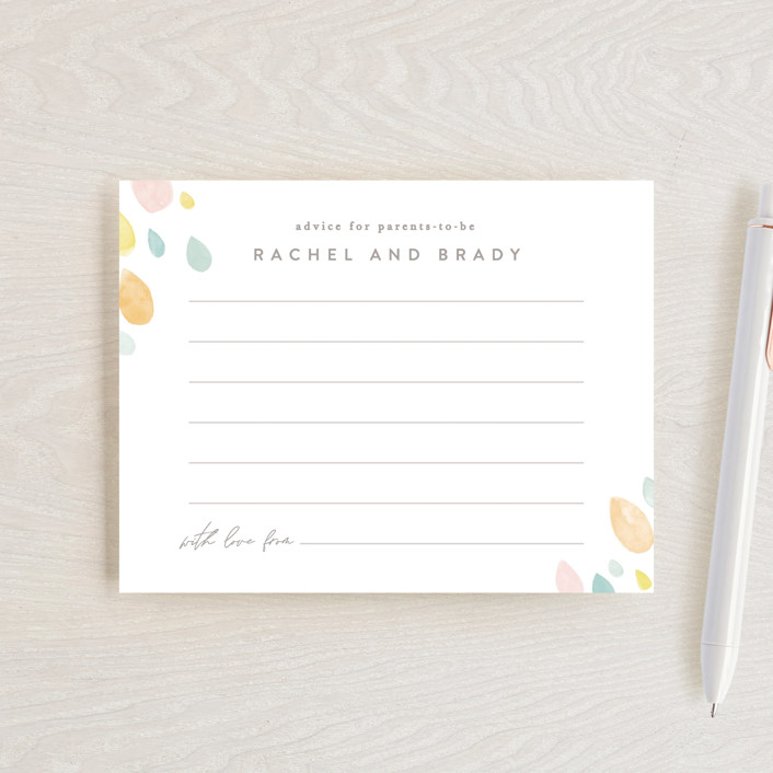"""""""Raindrops"""" - Baby Shower Insert Cards in Sunshine by Creo Study."""