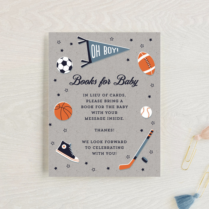 """""""Little Rookie"""" - Whimsical & Funny Baby Shower Insert Cards in Mist by Nam Bourassa."""