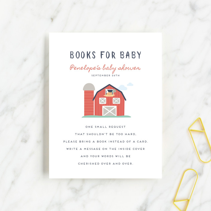 """""""barn baby"""" - Whimsical & Funny Baby Shower Insert Cards in Butter by peetie design."""