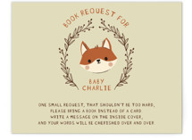 This is a green baby shower insert card by Vivian Yiwing called Baby Fox with standard printing on signature in standard.