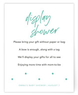 This is a green baby shower insert card by Louise Kay called More Diapers with standard printing on signature in standard.