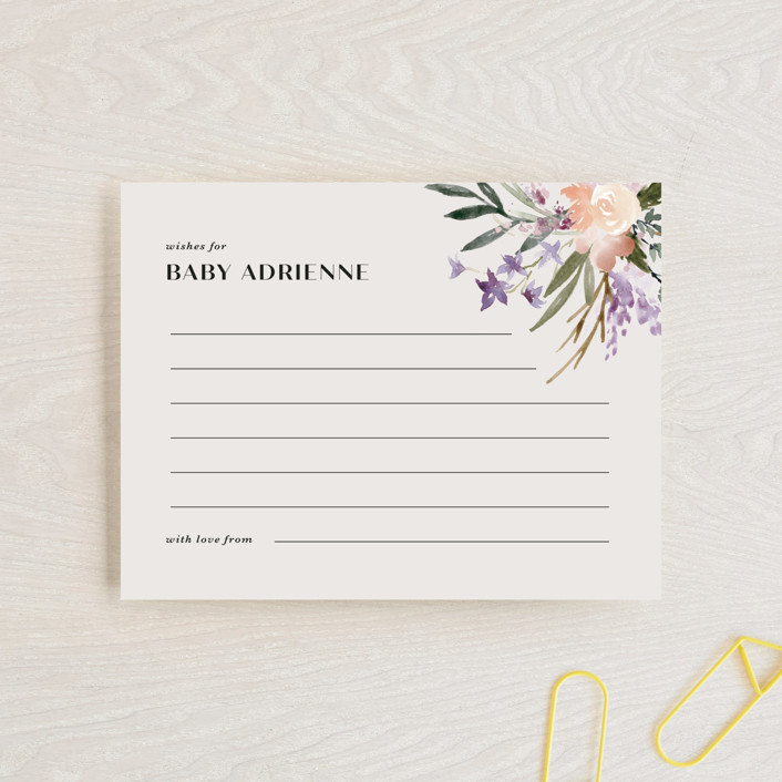"""""""Stacked Bouquets"""" - Baby Shower Insert Cards in Amethyst by Kate Ahn."""