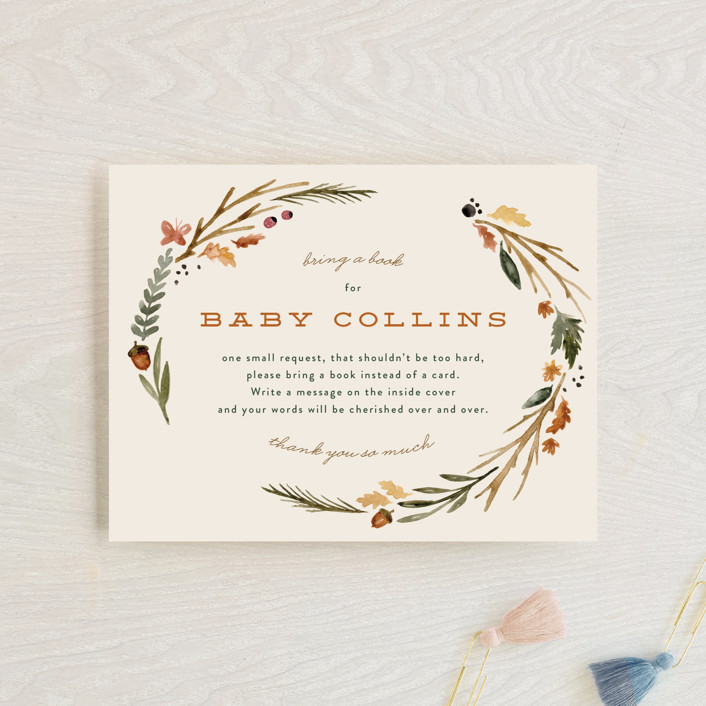 """""""woodland watercolor"""" - Whimsical & Funny Baby Shower Insert Cards in Butternut by Kate Ahn."""
