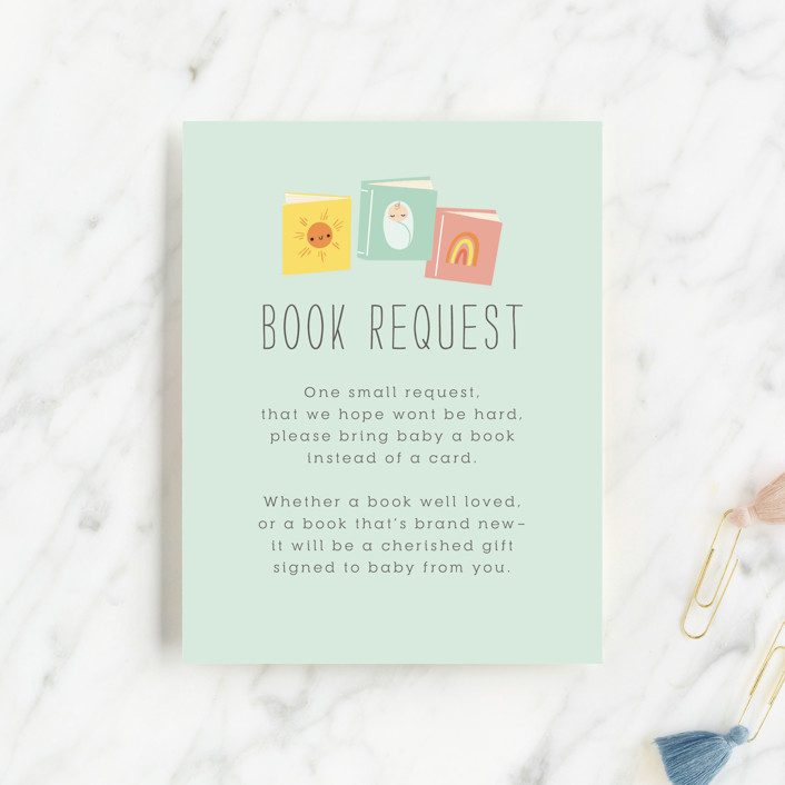 """""""Little Bookworm"""" - Whimsical & Funny Baby Shower Insert Cards in Tropical by Itsy Belle Studio."""