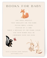 This is a beige baby shower insert card by Teju Reval called Woodland dreams with standard printing on signature in standard.