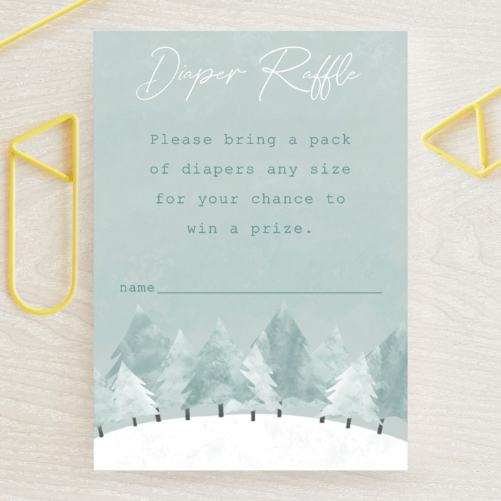 """""""Calm Winter"""" - Rustic Mini Baby Shower Insert Cards in Frost by Adelyn T.."""