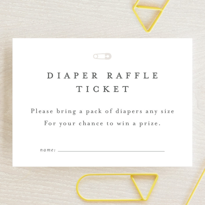 """""""Classic Diaper Raffle"""" - Mini Baby Shower Insert Cards in Baby Powder by Minted."""