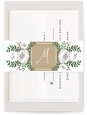 This is a brown, pink, classic colors Belly Bands by Lehan Veenker called Krafted Florals with Standard printing on Signature Text in Belly Band Flat Card format. A wedding invitation featuring pretty florals and kraft texture.