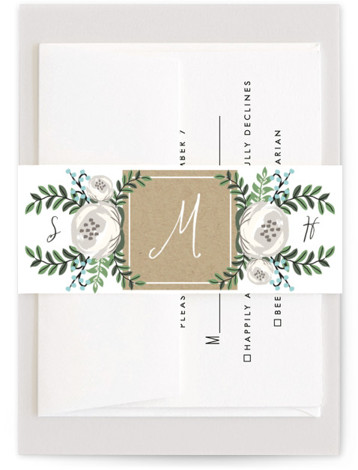 This is a botanical, blue, brown, classic colors Belly Bands by Lehan Veenker called Krafted Florals with Standard printing on Signature Text in Belly Band Flat Card format. A wedding invitation featuring pretty florals and kraft texture.