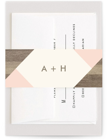 This is a pink Belly Bands by Johanna McShan called Modern Barn Wood with Standard printing on Signature Text in Belly Band Flat Card format. This wedding invitation features rustic wood against modern geometric shapes.