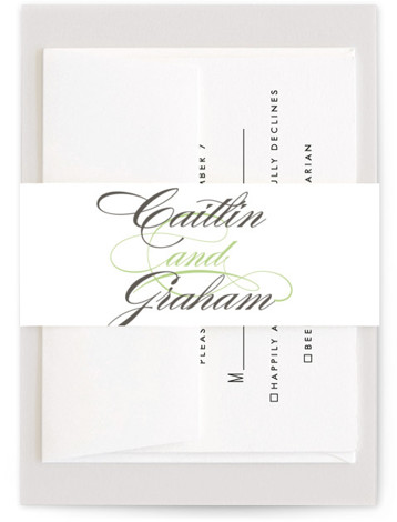 This is a bold typographic, traditional, green Belly Bands by Olivia Raufman called Cordial Flourish with Standard printing on Signature Text in Belly Band Flat Card format. A traditional wedding invitation with modern flair, featuring bold script and a clean ...