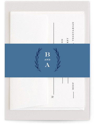 This is a botanical, blue, ivory, white Belly Bands by Olivia Raufman called Painted Leaves with Standard printing on Signature Text in Belly Band Flat Card format. A clean, organic invitation with watercolor leaves and classic type.