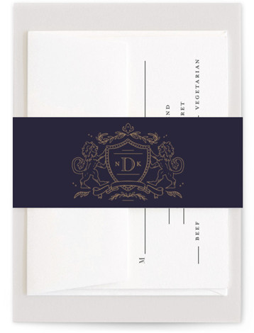 This is a blue Belly Bands by Kristen Smith called Classic Crest with Standard printing on Signature Text in Belly Band Flat Card format. A hand drawn crest and romantic text gives this classic invite a modern update
