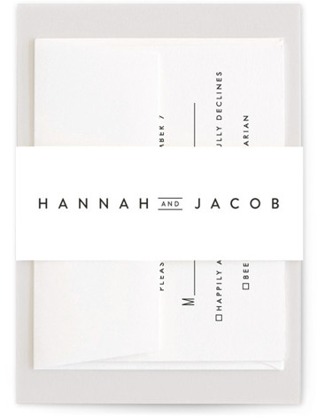 This is a black and white Belly Bands by Stacey Meacham called Elegantly Framed with Standard printing on Signature Text in Belly Band Flat Card format. This elegant wedding invitation pairs modern, yet classic typography with a delicate, offset frame. ...