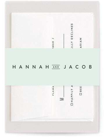 This is a green Belly Bands by Stacey Meacham called Elegantly Framed with Standard printing on Signature Text in Belly Band Flat Card format. This elegant wedding invitation pairs modern, yet classic typography with a delicate, offset frame.