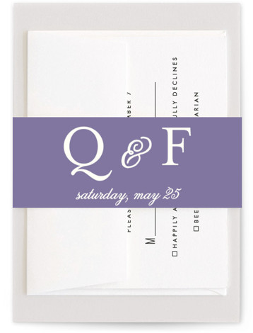 This is a blue, purple, classic colors Belly Bands by Susan Moyal called Wisteria Blooms with Standard printing on Signature Text in Belly Band Flat Card format. This wedding invitation features branches filled with blooming wisteria