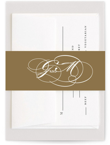 This is a grey, white Belly Bands by Jennifer Postorino called Flourish with Standard printing on Signature Text in Belly Band Flat Card format. A simple offset design that lets the lovely couples names be the main focus.