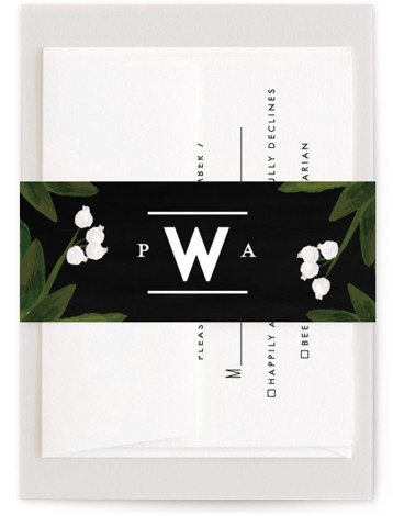 This is a black, classic colors Belly Bands by Shiny Penny Studio called Botanical Name Plate with Standard printing on Signature Text in Belly Band Flat Card format. This wedding invitation, inspired by vintage botanical prints, features painterly florals and ...