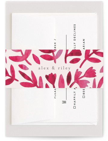 This is a botanical, red Belly Bands by Katharine Watson called Wildflower Floral with Standard printing on Signature Text in Belly Band Flat Card format. This design uses a hand painted watercolor design to create a unique, eye catching fun ...