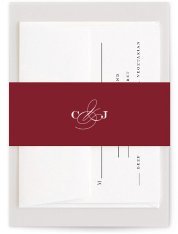 This is a bold and typographic, preppy, red Belly Bands by Jill Means called Wedding Plaid with Standard printing on Signature Text in Belly Band Flat Card format. A subtle plaid background with classic typography