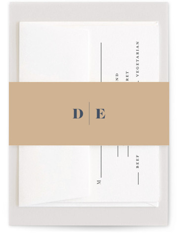 This is a bold and typographic, simple and minimalist, blue, brown Belly Bands by Melissa Egan of Pistols called headline with Standard printing on Signature Text in Belly Band Flat Card format. A modern typographic, wedding invitation that lets your ...