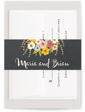 This is a orange Belly Bands by Faiths Designs called Plentiful Blossoms with Standard printing on Signature Text in Belly Band Flat Card format. Softly colored flowers cascade down from the top of this modern wedding invitation.