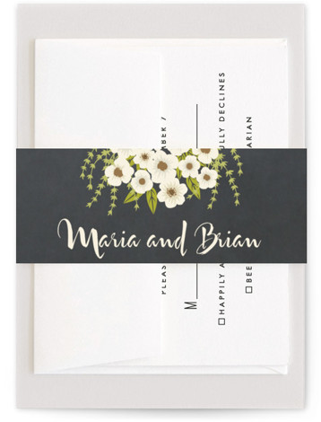 This is a botanical, beige Belly Bands by Faiths Designs called Plentiful Blossoms with Standard printing on Signature Text in Belly Band Flat Card format. Select a matching belly band to hold together your wedding suite and add the perfect ...
