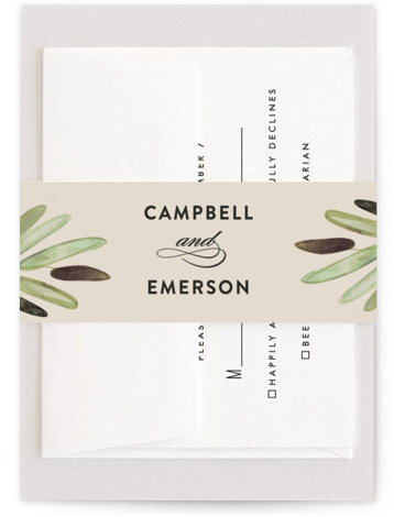 This is a green Belly Bands by Haley Warner called Parting Branches with Standard printing on Signature Text in Belly Band Flat Card format. Watercolor branches and clean type set the tone for a modern wedding with tropical flair.