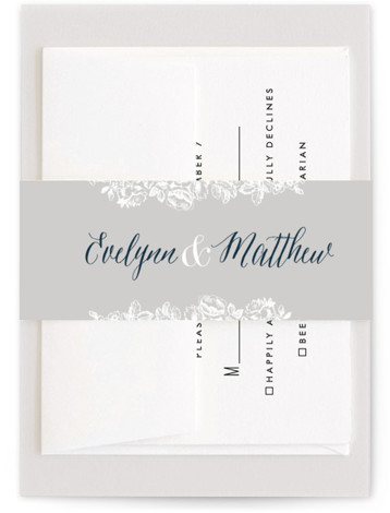This is a classic and formal, blue Belly Bands by 2birdstone called French Roses with Standard printing on Signature Text in Belly Band Flat Card format. Vintage rose etchings surround your modern monogram to give this wedding invitation a sophisticated ...
