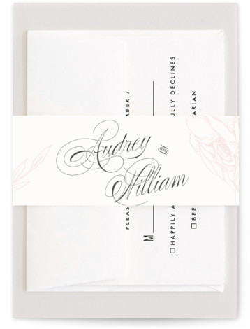 This is a classic and formal, pink Belly Bands by Nicoletta Savod called Flora with Standard printing on Signature Text in Belly Band Flat Card format. This chic wedding invite features beautiful hand drawn illustrations and elegant type.