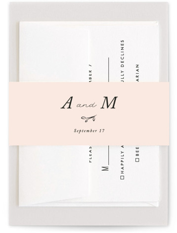 This is a pink Belly Bands by Stacey Meacham called Storybook Romance with Standard printing on Signature Text in Belly Band Flat Card format. This romantic wedding invitation features whimsical hand drawn natural elements and serif type , accented with ...