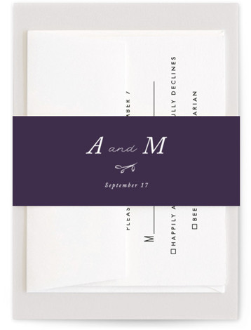 This is a botanical, simple and minimalist, purple Belly Bands by Stacey Meacham called Storybook Romance with Standard printing on Signature Text in Belly Band Flat Card format. This romantic wedding invitation features whimsical hand drawn natural elements and serif ...