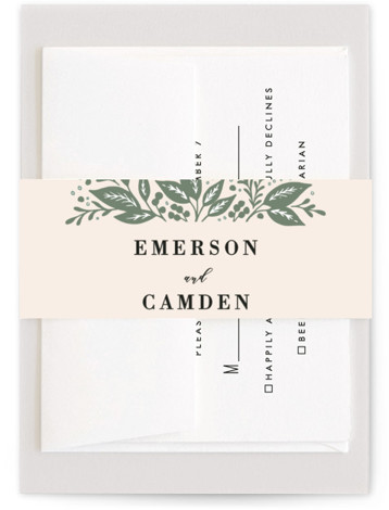 This is a green Belly Bands by Alethea and Ruth called Greenery Bouquet with Standard printing on Signature Text in Belly Band Flat Card format. Inspired by greenery in bouquets, this wedding invite features a geometric shape, leaves and branches. ...