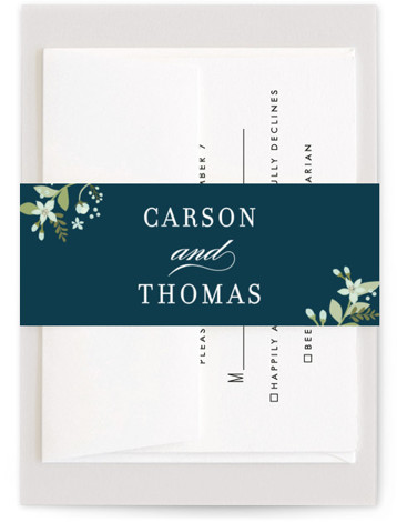 This is a blue Belly Bands by Jennifer Wick called Longwood Estates with Standard printing on Signature Text in Belly Band Flat Card format. A playful mix of formal type and garden florals create a beautiful and romantic wedding invitation. ...