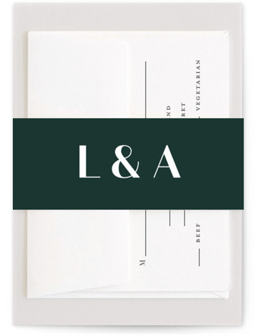 This is a classic and formal, green Belly Bands by Lauren Chism called Type with Standard printing on Signature Text in Belly Band Flat Card format. Modern and fresh photo invitation.