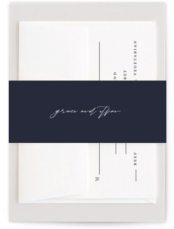 This is a classic and formal, simple and minimalist, blue Belly Bands by Kasia Labocki called first dance with Standard printing on Signature Text in Belly Band Flat Card format. A modern script accents this wedding invitation with modern elegance ...