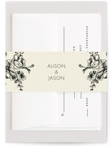 This is a brown Belly Bands by Phrosne Ras called Elegance Illustrated with Standard printing on Signature Text in Belly Band Flat Card format. A hand drawn floral in black and beige for a formal affair.