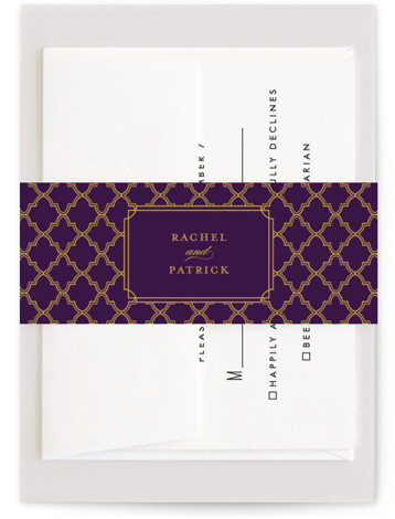This is a purple, classic colors, yellow Belly Bands by Sarah Brown called Luxe Border with Standard printing on Signature Text in Belly Band Flat Card format. Formal type and rich colors give this wedding invitation a bold yet classy ...