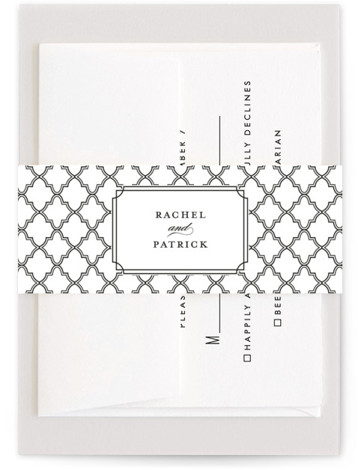 This is a black, classic colors, white Belly Bands by Sarah Brown called Luxe Border with Standard printing on Signature Text in Belly Band Flat Card format. Formal type and rich colors give this wedding invitation a bold yet classy ...