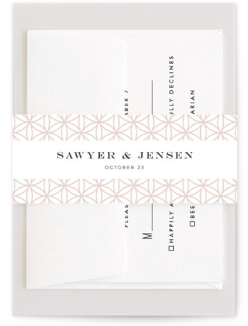 This is a botanical, pink Belly Bands by Melanie Kosuge called Sawyer with Standard printing on Signature Text in Belly Band Flat Card format. An elegant wedding invitation featuring original, hand drawn floral illustration and clean type.