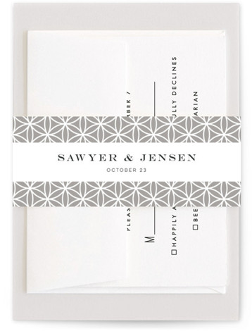 This is a grey Belly Bands by Melanie Kosuge called Sawyer with Standard printing on Signature Text in Belly Band Flat Card format. An elegant wedding invitation featuring original, hand drawn floral illustration and clean type.