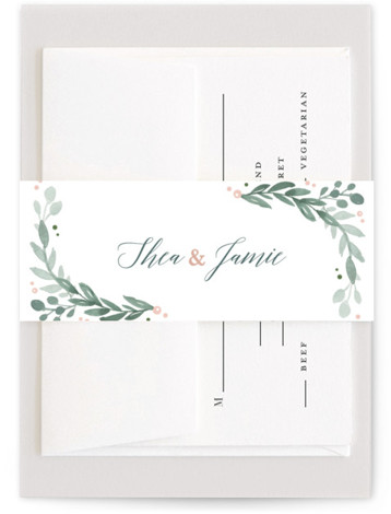 This is a blue, pink Belly Bands by Kristen Smith called Garden Glamour with Standard printing on Signature Text in Belly Band Flat Card format. The perfect invitation for a glamorous garden wedding with soft pastel touches and elegant florals ...