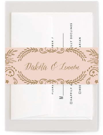 This is a vintage, pink Belly Bands by Chris Griffith called Wedding Enchantment with Standard printing on Signature Text in Belly Band Flat Card format. Elegant scrolls and swirls give a vintage feel to this traditional invitation