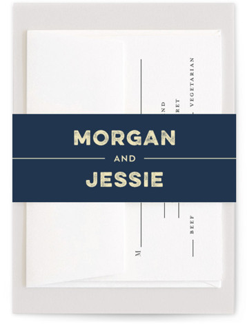 This is a blue Belly Bands by Coco and Ellie Design called Mountain View with Standard printing on Signature Text in Belly Band Flat Card format. A travel poster inspired wedding invitation perfect for outdoorsy couple.