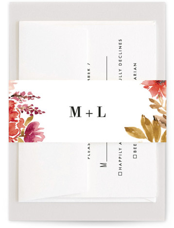 This is a botanical, orange Belly Bands by Chris Griffith called Autumn Vows with Standard printing on Signature Text in Belly Band Flat Card format. A personally hand painted loose watercolor floral in warm fall colors perfect for an autumn ...